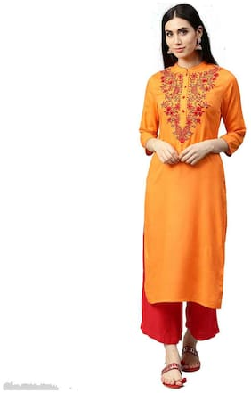 Jaipur Kurti Women Orange Solid Straight Dobby Kurta