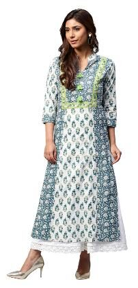 Jaipur Kurti Women Cotton Printed Straight Kurta - Blue