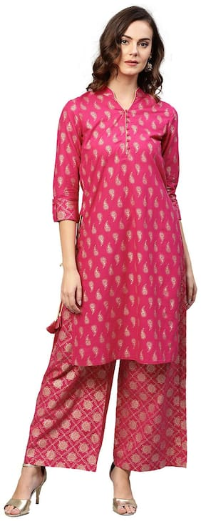 Jaipur Kurti Women Pink Ethnic Motifs Straight Cotton Kurta with Palazzo