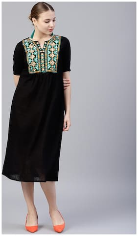 Women Embroidered A Line Fusion Dresses