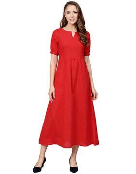 Jaipur Kurti Women Cotton Solid Straight Kurta - Red