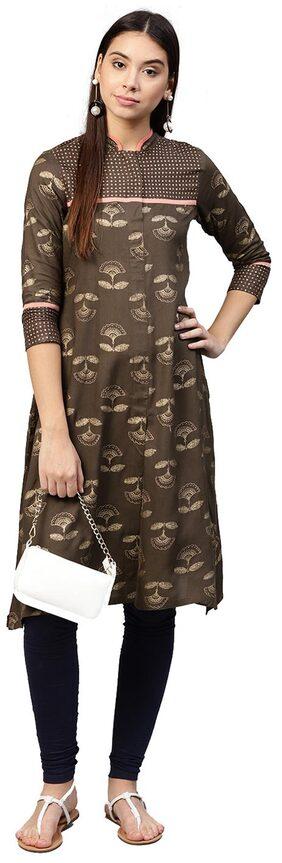 Jaipur Kurti Women Rayon Printed Straight Kurta - Brown