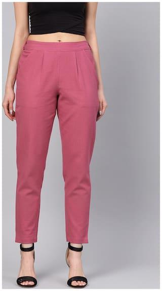 Jaipur Kurti Women Pink Straight fit Regular trousers