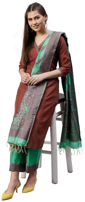 Jaipur Kurti Women Maroon & Sea Green Solid Straight Chanderi Kurta with Palazzo & Dupatta