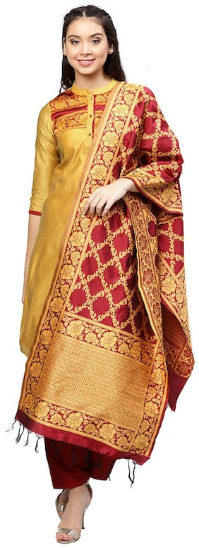 Jaipur Kurti Women Yellow & Maroon Solid Straight Chanderi Kurta with Patiala & Dupatta