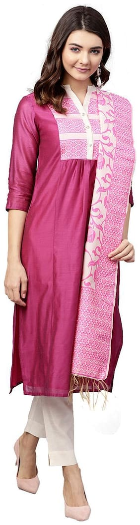 Jaipur Kurti Women Magenta & Off White Solid Straight Chanderi Kurta with Pant Dupatta