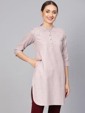 Jaipur Kurti Women Cotton Solid Straight Kurta - Pink