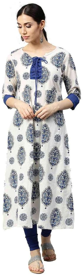 Jaipur Kurti Women White Ethnic Motifs A-Line Cotton Flex Kurta