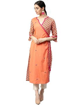 Jaipur Kurti Women Peach Ethnic Motifs Straight Cotton Kurta