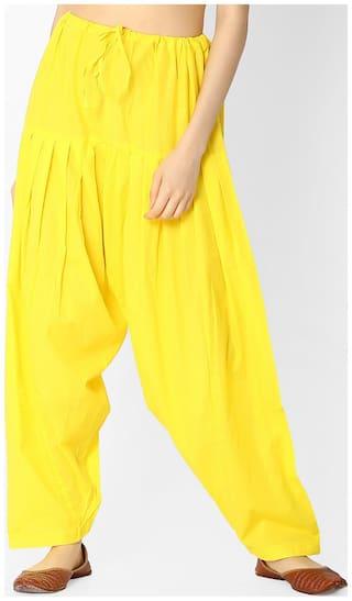 Jaipur Kurti Cotton Patiala - Yellow