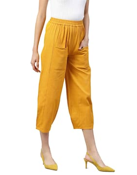 Jaipur Kurti Women Regular Fit Mid Rise Solid Pants - Yellow