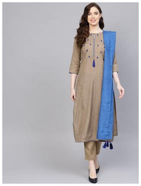 Jaipur Kurti Women Cotton Straight Suit Set -Beige
