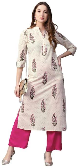 Jaipur Kurti Women Off-White & Pink Printed Cotton Kurta with Palazzos