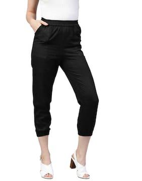 Jaipur Kurti Women Regular Fit Mid Rise Solid Pants - Black