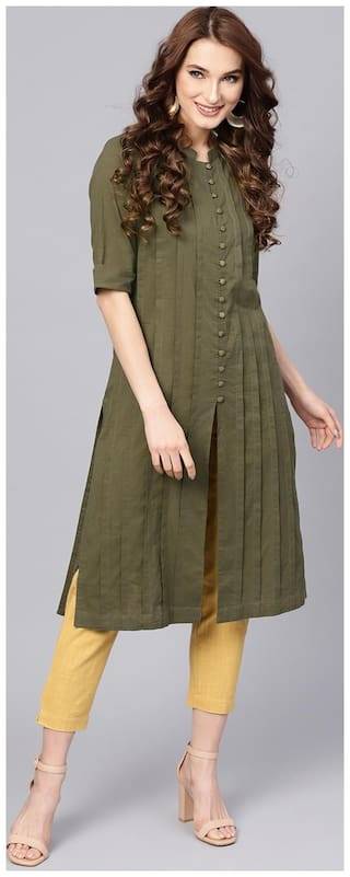 Jaipur Kurti Women Green & Yellow Solid Straight Cotton Kurta with Pant