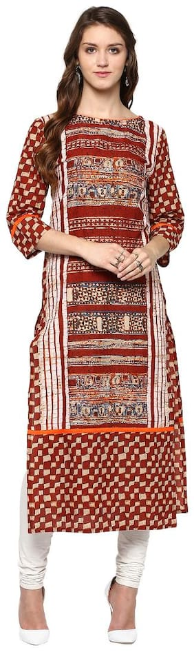 Jaipur Kurti Women Cotton Abstract Straight Kurta - Red