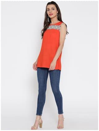 Jaipur Kurti Women Orange Solid Straight Kurti
