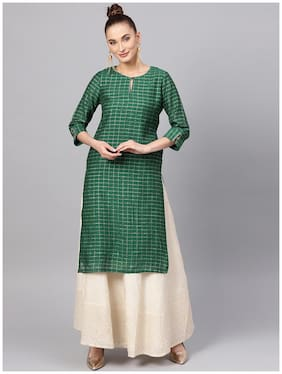 Women Checkered Straight Kurta