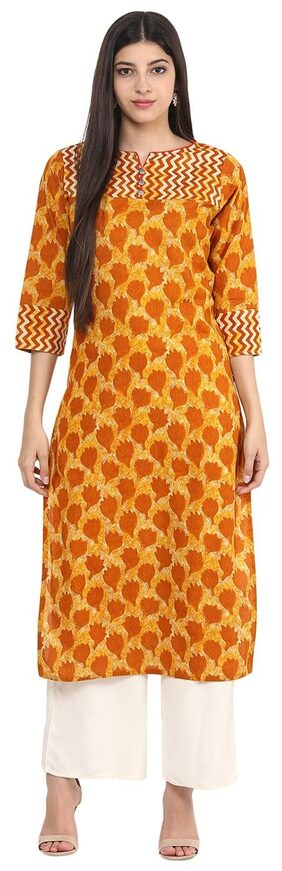 Jaipur Kurti Women Cotton Floral Straight Kurta - Yellow