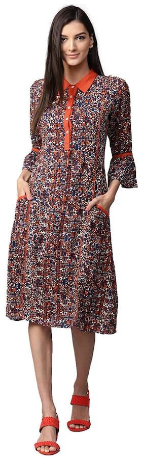 Jaipur Kurti Women Navy Blue Printed Rayon Kurti Dress