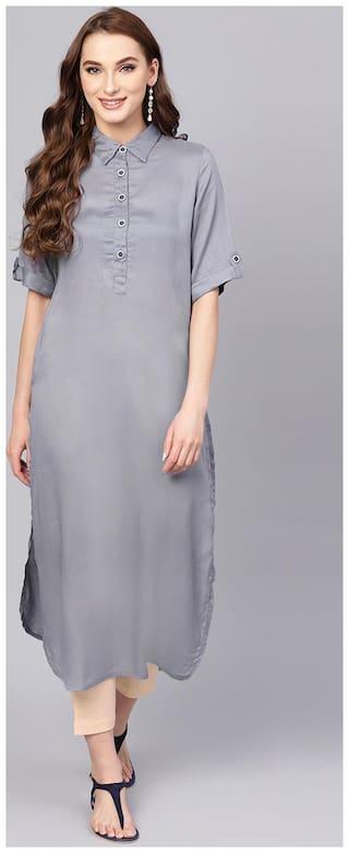 Jaipur Kurti Women Grey & Beige Solid Straight Rayon Dobby Kurta with Pant