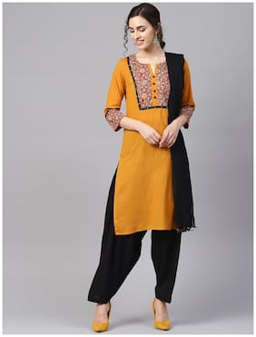 Jaipur Kurti Women Cotton Suit Set Mustard and Black color