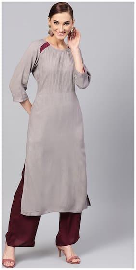 Jaipur Kurti Women Grey & Brown Solid Straight Rayon Kurta with Palazzo