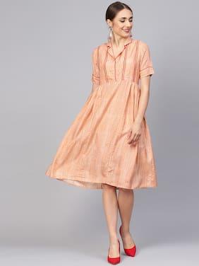 Jaipur Kurti Silk Geometric A-line Dress Orange