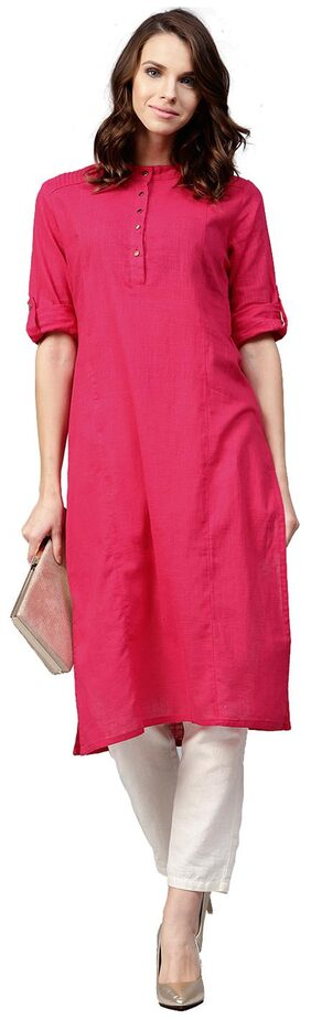 Jaipur Kurti Women Cotton Solid Straight Kurta - Pink