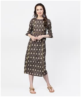 Jaipur Kurti Cotton Printed A-line Dress Brown