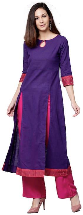 Jaipur Kurti Women Purple & Rani Solid A-Line Cotton Slub & Chanderi Kurta With Palazzo