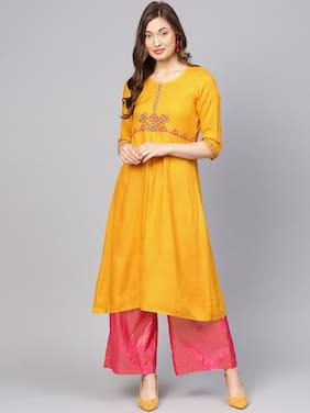 Jaipur Kurti Women Rayon Solid A Line Kurta - Yellow