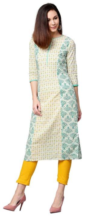 Jaipur Kurti Women Off White & Yellow Ethnic Motifs Straight Cotton Kurta With Pant