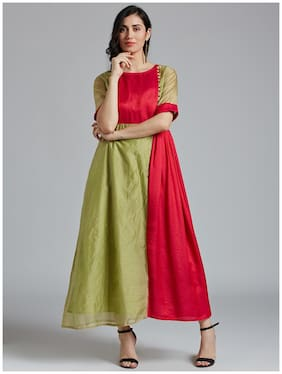 Women Colorblocked Anarkali Kurti Dress