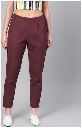 Women Solid Regular Trousers