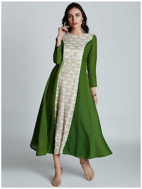Jaipur Kurti Women's Green & White South Cotton Kurti Dress