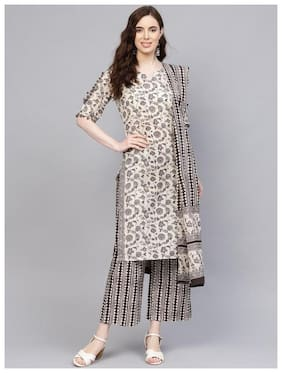 Jaipur Kurti Women Grey Floral Straight Kurti With Palazzo And Dupatta