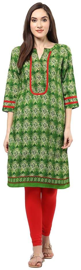 Jaipur Kurti Rayon Green Geometrical Print Kurta