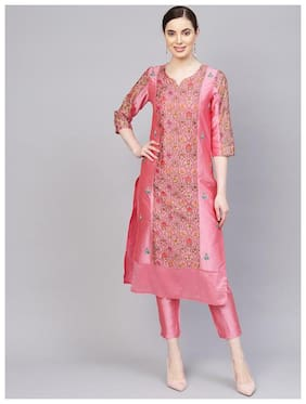 Jaipur Kurti Women Chanderi Straight Kurta With pants -Pink