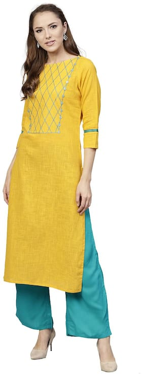 Jaipur Kurti Cotton Yellow Kurta With Sgreen Palazzo Set