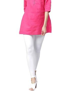 Jaipur Kurti Women White Solid Cotton Lycra Leggings