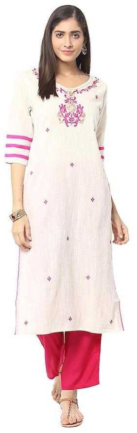 Jaipur Kurti Off-White & Rani Pink Embroidered Kurta With Palazzo Trousers