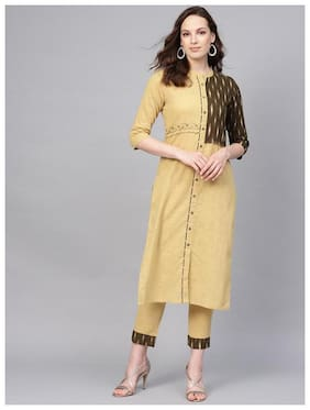 Jaipur Kurti Cotton Kurta With Pants Beige