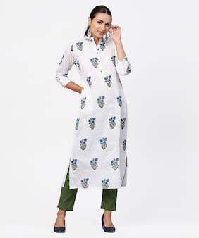 Jaipur Kurti Cotton 3/4th Sleeves Stitched Suits white;Green