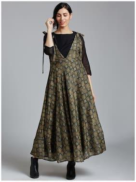 Jaipur Kurti Women's Mahendi Green Pure Chanderi Kurti Dress