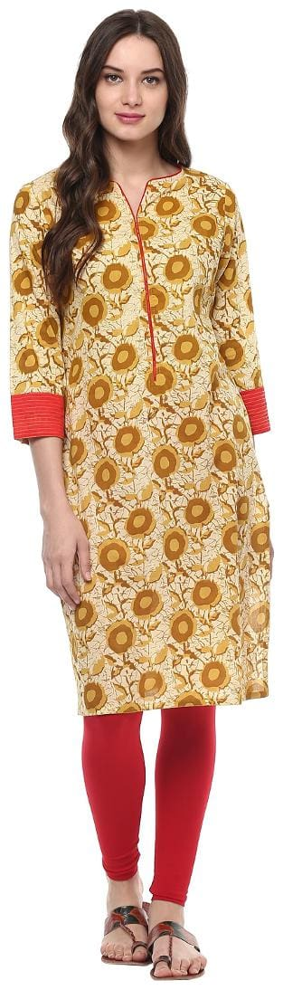Jaipur Kurti Women Cotton Floral Straight Kurta - Yellow