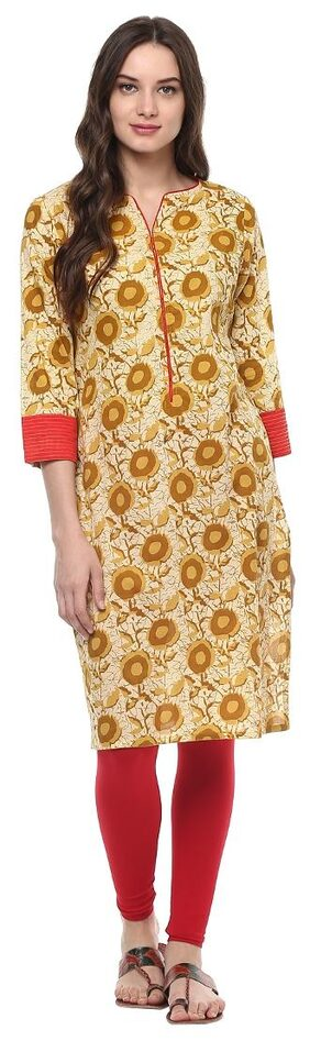 Jaipur Kurti Yellow Colour Printed Women's Cotton Kurti