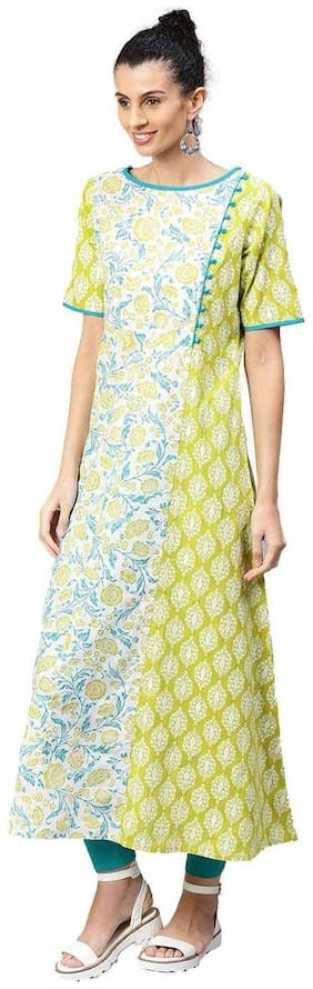 Jaipur Kurti Women Green Floral A-Line Cotton Kurta