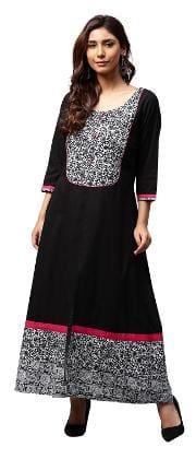 Jaipur Kurti Women Black Floral A-Line Cotton Kurta