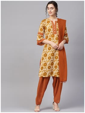 Jaipur Kurti Women Cotton Suit Set Beige and Brown color